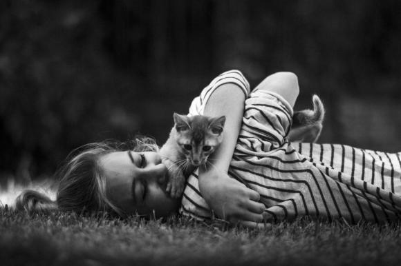 La chica y el gato a rayas